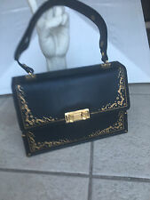 Navy Blue and Gold Leather Purse by Misuri Florence Italy Kelly Bag $500