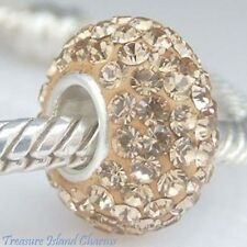 YELLOW LIGHT TOPAZ CZ CRYSTAL .925 Solid Sterling Silver EUROPEAN Bead Charm