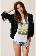 BLU MOON Exclusive Sparkle & Fringe JACKET Black Sequin P301-0002 SMALL NEW $198