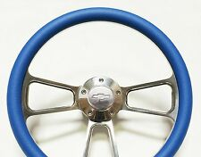 """Blue Steering Wheel 14"""" Billet Muscle Style Wheel with Chevy Horn & Adapter Kit"""