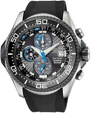 Mens Citizen Eco-Drive Promaster Black Rubber Diver Watch Chronograph BJ2115-07E