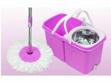 360° ROTATING FOLDING MAGIC SPINNING SPIN MOP BUCKET FLOOR MOP 2 MICROFIBRE HEAD