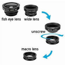 Black Fisheye Wide Angle &Macro Photo Lens Clip Mobile Phone Camera Set Kit UK