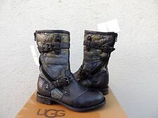 UGG ITALIAN COLLECTION ADELA INK LEATHER/ SHEARLING BOOTS, WOMENS 7/ EUR 38 ~NEW