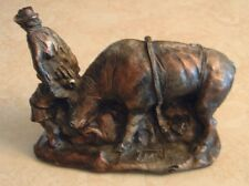Canadian Art Carved Wood Cowboy and Steer Figurine Sculpture