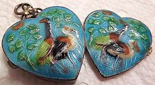 RARE! ART NOUVEAU GUILLOCHE ENAMEL BIRD STERLING SILVER HEART PILL BOX PENDANT