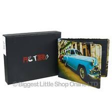 NEW Mens LEATHER Cuban Car Bi-Fold WALLET by Retro Gift Box Classic Blue Cuba