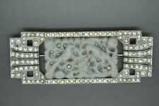Vintage Art Deco French Paste carved glass Rhodium Brooch