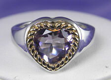 3.30 CT Genuine Amethyst Heart-Shaped Ring in Silver and 14KT Gold
