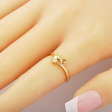 fashion Womens Yellow Gold Filled Clear crystal Heart promise love Ring Size 7