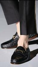 NIB GUCCI Runway Black CROCODILE Horsebit Loafers Shoes sz 14 D(USA) (Gucci 15)