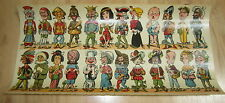 Old c.1900 Antique French  Game PRINT - Comic Characters - Sheet of 24