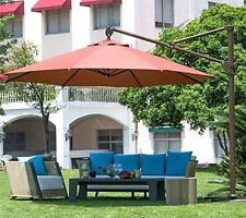 11 ft Offset Cantilever Outdoor Patio Umbrella with Vertical Tilt and Cross Base