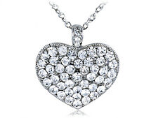 Simple Crystal Rhinestones Encrusted Ice Bling Big Heart Shape Pendant Necklace