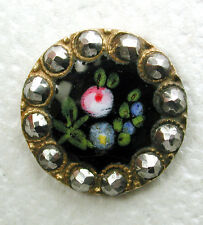 """Antique French Enamel Button Hand Painted Flowers w/ Cut Steel Border - 9/16"""""""