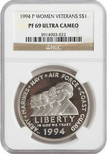 1994-P Women Veterans $1 Proof Silver Commemorative Coin PF69 Ultra Cameo NGC