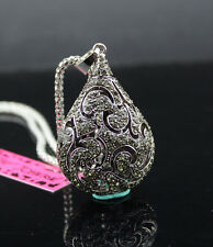 A605 Betsey Johnson Crystal Retro Perfume bottle Pendant Sweater chain Necklace