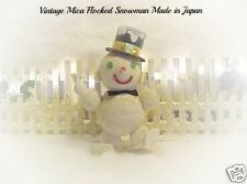 Sweet Vtg Mica & Glitter Flocked SNOWMAN Top Hat & Skis ca 1950's Made in Japan