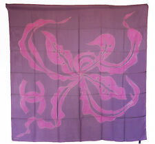 NEW CHANEL 12A  PINK and PURPLE SCARF 100% Silk