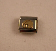 AUTHENTIC-Nomination Classic FOOTBALL HELMET Charm Stainless Steel w/18k Gold