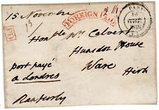 1838  RED CURVED FOREIGN PAID FRONT PARIS TO WARE HERTS