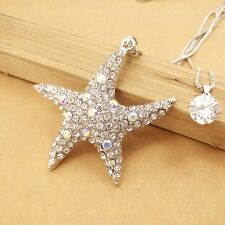 Wholesale Mosaic Crystal Starfish Pendant chain charm necklace XL562