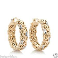 Technibond Byzantine Hoop Earrings 14K 2-Tone Gold Clad Sterling Silver 925