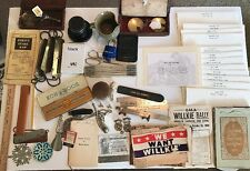 VINTAGE JUNK DRAWER LOT SCALES, DRAFTING, CALENDAR, PINS, POLITICAL, AUTO & MORE