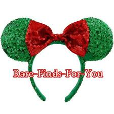 Disney Parks Minnie Mouse Ear Christmas Holiday Sequin Headband with Bow Cap/Hat