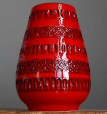 Vintage 1960-70's ITALIAN POTTERY Art Red Vase Fat Lava Rimini Bitossi Era
