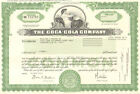 The Coca-Cola Company 2012 Coke stock certificate