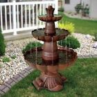 Outdoor Fountain 3-Tiered Water Pump Flowing Garden Yard Decor Birdbath Pond New