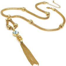 Costume jewellery ladies gold crystal pendant lengthy tassel long chain necklace