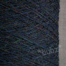 PURE SHETLAND WOOL BLUE MELANGE 500 CONE 10 BALL 3 4 PLY KNIT WEAVE YARN HEATHER