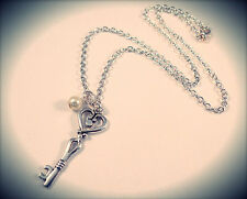 Antique Skeleton Key Pendant Necklace-Pearl Vintage Silver Jewellery-Love Heart