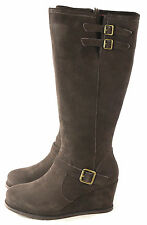 Caterpillar CAT Women's Knew Wedge Winter Snow Boot Cafe Brown Suede Size 8 M