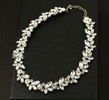 New Downton Glass Crystal Wreath Statement Vintage Deco Necklace Wedding Bridal