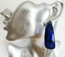 Fab Zebra Print Hoop Dangle Drop Earrings in BLUE and Black 5 cms