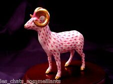 HEREND, RAM STANDING with GOLDEN HORNS PORCELAIN FIGURINE, RASPBERRY, FLAWLESS