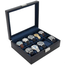 Watch Box Storage Case Leather For 10 Watches Glass Window TS3736NY