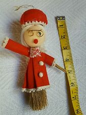 1960's? Vintage HAND CRAFTED Mrs. Santa Claus Christmas Broom Wall Tree Hanging