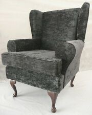 ARM CHAIR/ WING BACK CHAIR/ FIRESIDE CHAIR GREY CHENILLE FABRIC