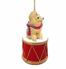 APRICOT POODLE w/ DRUM DOG CHRISTMAS ORNAMENT HOLIDAY XMAS Figurine Scarf gift