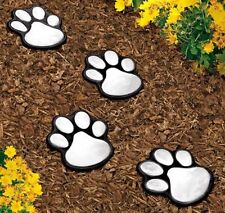 "4 solar dog animal paw print Lights garden statue lantern LED path 3"" light lamp"