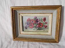 2/ Ancienne petite huile sur panneau de Jean Billard bouquet de fleurs