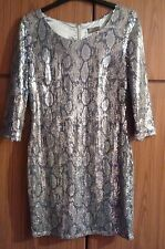 Lipsy Sequin Snakeskin Print Tunic Party Dress 12 Bohemian Boho Vintage