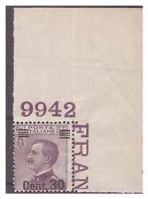 REGNO 1924  - SOPRASTAMPATI   - 30  Cent  su 55 NUOVO  ** NUMERO DI TAVOLA