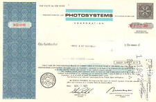 Photosystems Corporation 1971 New York share stock certificate