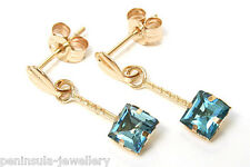 9ct Gold London Blue Topaz Drop earrings Made in UK Gift Boxed