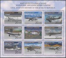 Kirghizistan 2008 AEREI/Aeronautica/Aviazione Civile/Trasporto/commerce 8v Sht s2216j